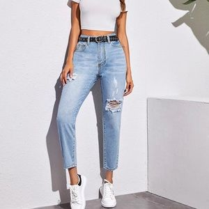 2/$40 SHEIN Straight Leg Ripped Mom Jeans